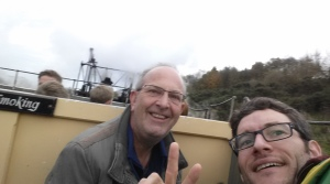 Foundation Centre staff, Nick Pearce and Geoff Wren enjoy a ride on the steam locomotive.